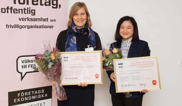 Anna Pfeiffer, Lunds universitet, och Caroline Teh, Högskolan i Skövde, är 2017 års vinnare av Oskar Sillén-priset