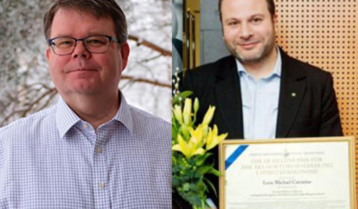 Leon Caesarius och Jukka Hohenthal, vinnare av FEI Research Institutes stipendium