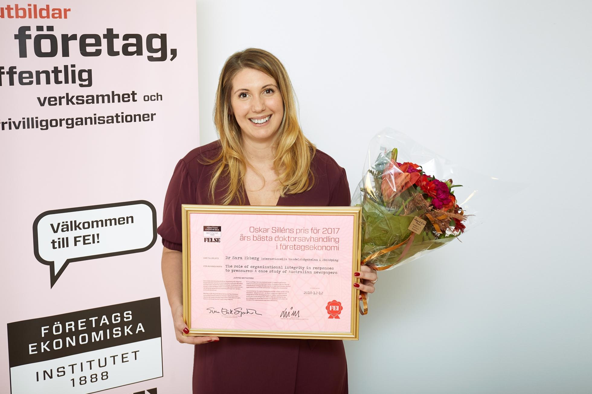 Dr Sara Ekberg, vinnare av Oskar Sillén-priset 2018